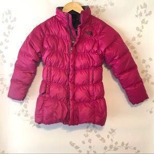 North Face, girls reversible, hot dark pink jacket